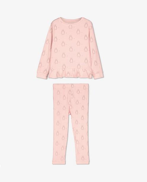 Roze pyjama met pinguïns - en rib - Milla Star