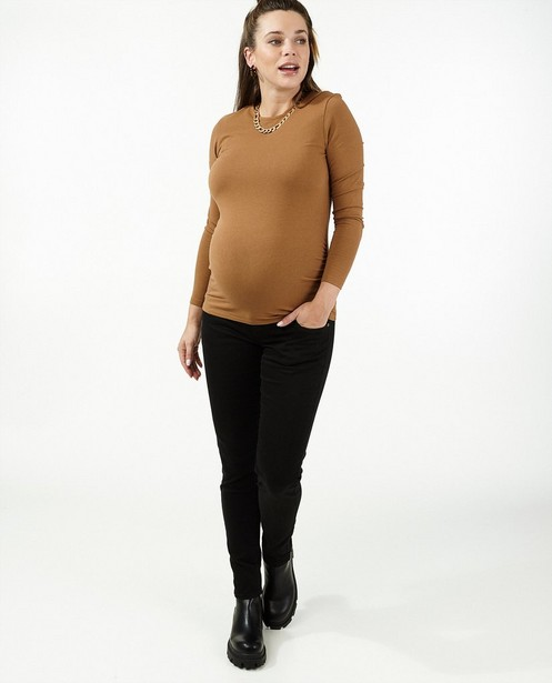 T-shirt à manches longues brun JoliRonde - grossesse - Joli Ronde
