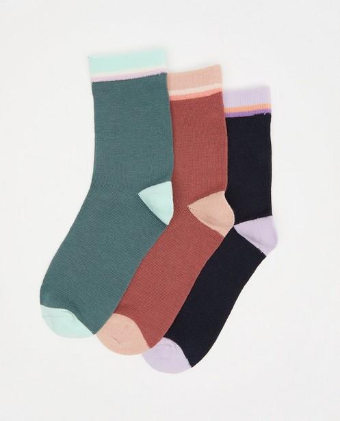 3-pack kousen met strepen - blauw, roze en groen - JBC
