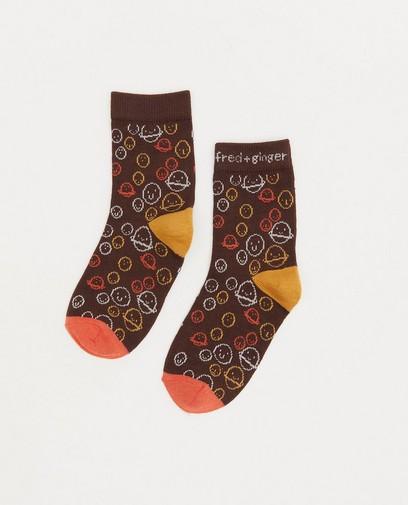 Chaussettes brunes à imprimé Fred + Ginger