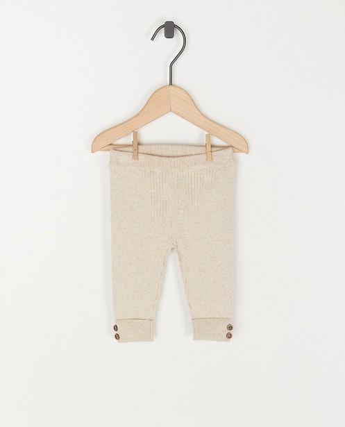 Ecru legging met gebreide rib - unisex - stretch - Newborn