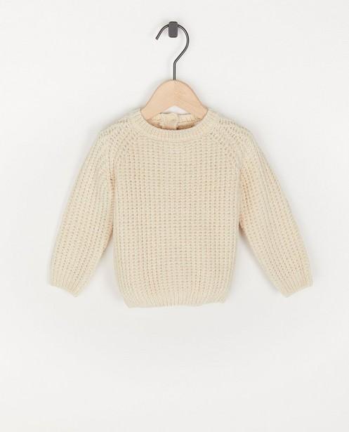 Pull beige en fil chenille - côtelé - Cuddles and Smiles
