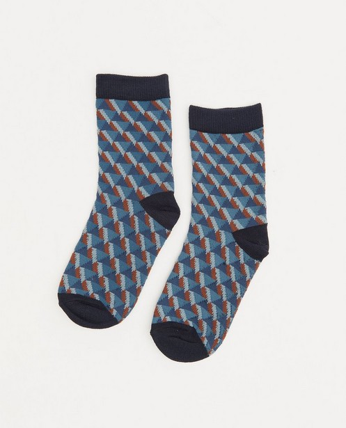 Chaussettes bleues à imprimé - intégral - JBC
