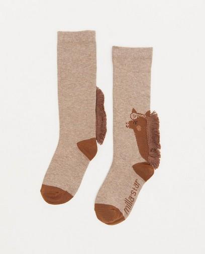 Chaussettes grises à imprimé à chevaux