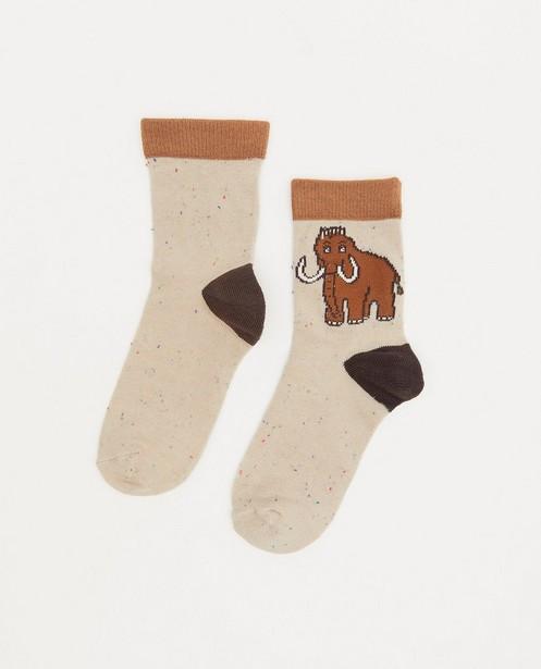Chaussettes beiges avec un mammouth - chiné - JBC