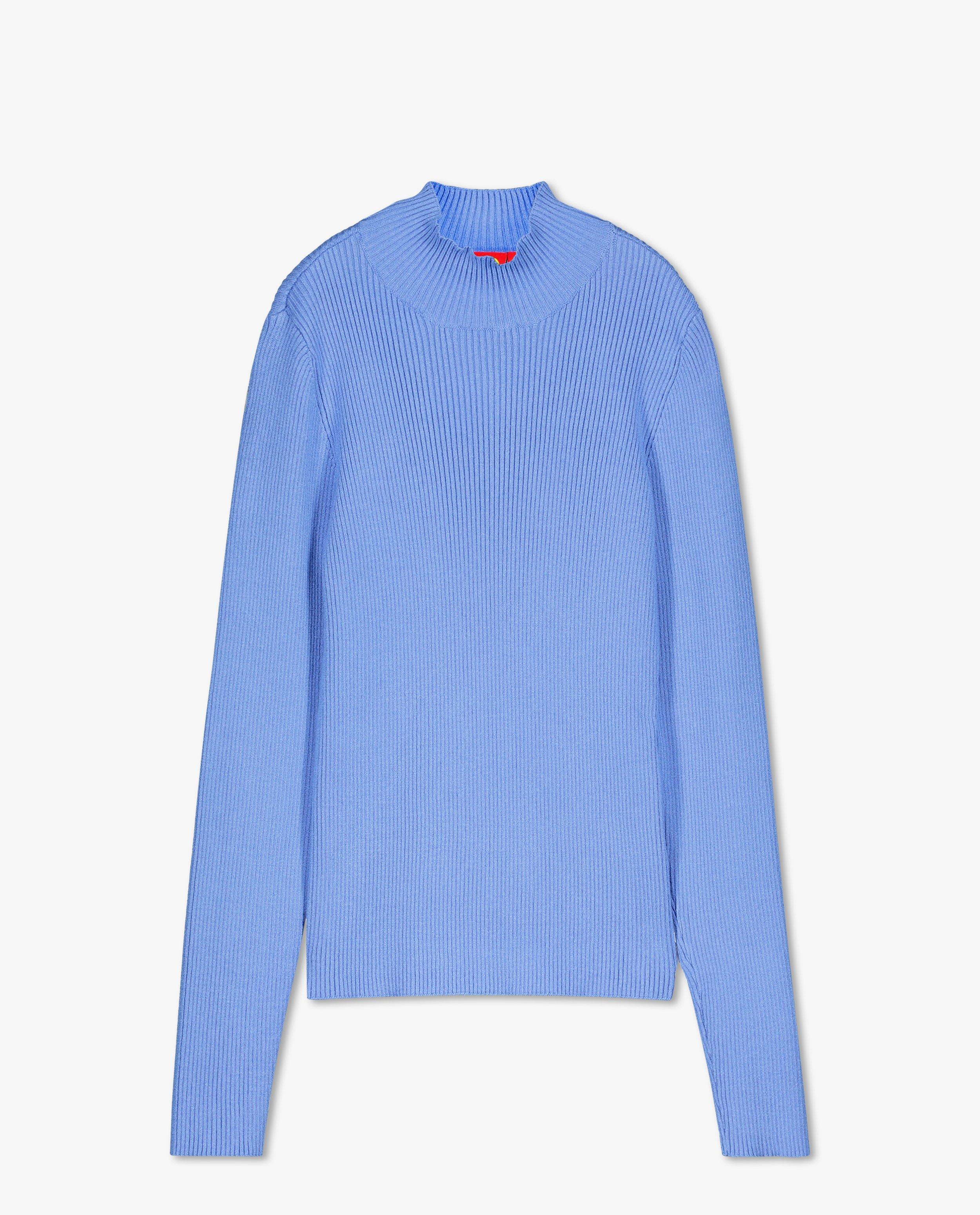 T-shirt bleu côtelé à manches longues #LikeMe