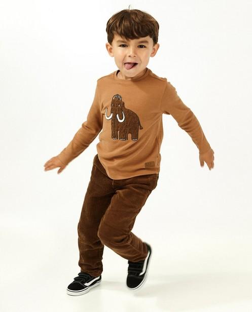 T-shirt brun à manches longues avec imprimé - fil bouclette - Kidz Nation