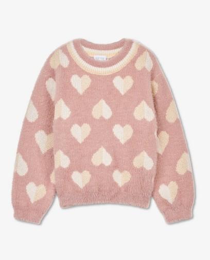 Pull rose avec des petits cœurs K3