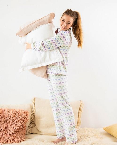Witte pyjama met hartjes - van fleece - Fish & Chips