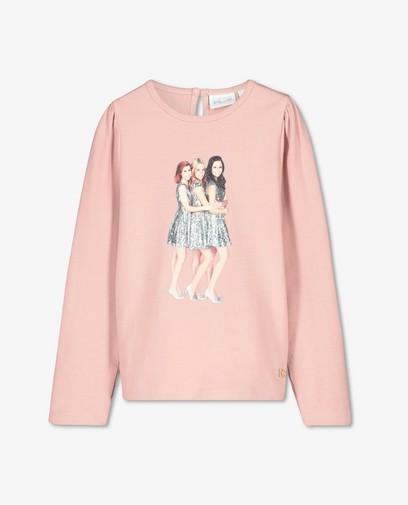 T-shirt rose à manches longues, imprimé K3
