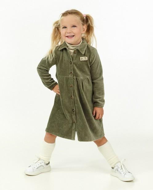Robe verte en velours côtelé K3 - avec broche - K3