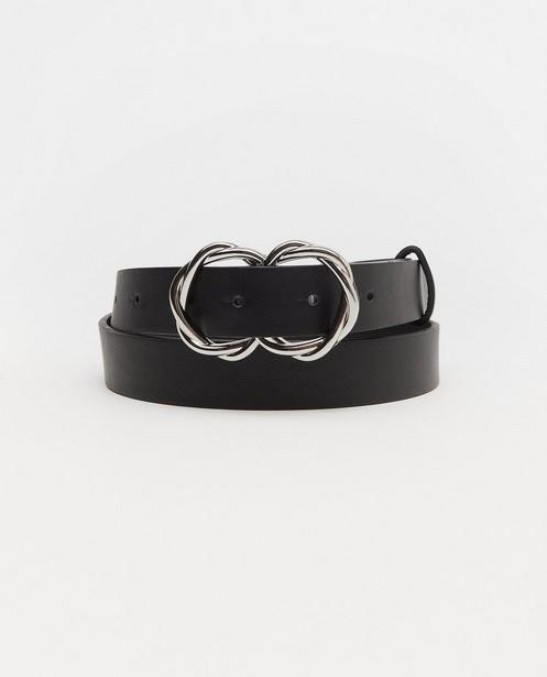 Zwarte riem Pieces - met zilverkleurige gesp - Pieces