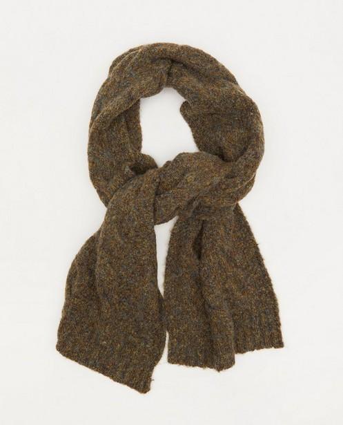 Sjaal met kabelpatroon Pieces - in donkergroen - Pieces