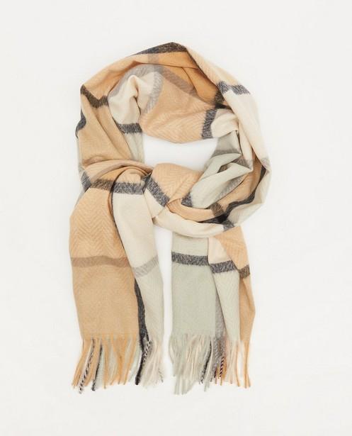Sjaal met ruiten Pieces - in beige en blauw - Pieces