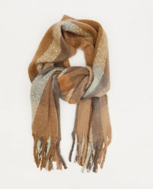 Grijze sjaal met strepen Pieces - gerecycleerd polyester - Pieces