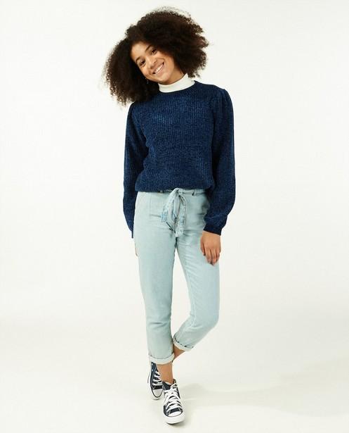Jeans bleu avec paperbag waist - coupe boyfriend - Groggy