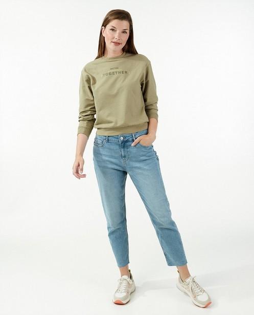 Groene sweater met opschrift - stretch - Familystories