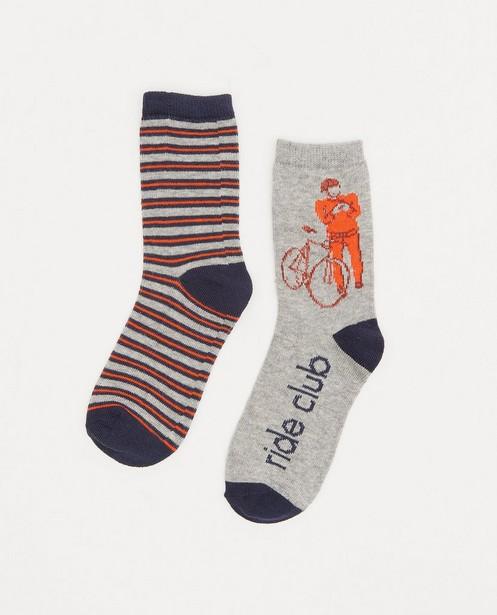 Lot de 2 paires de chaussettes grises à imprimé - avec du stretch - JBC