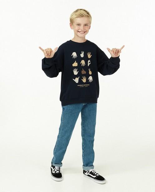 Unisex sweater met print, 9-15 jaar - in blauw - JBC
