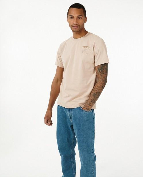 Biokatoen T-shirt met opschrift I AM - natural dye - I AM
