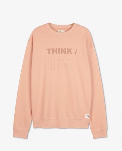 Biokatoenen sweater met opschrift I AM