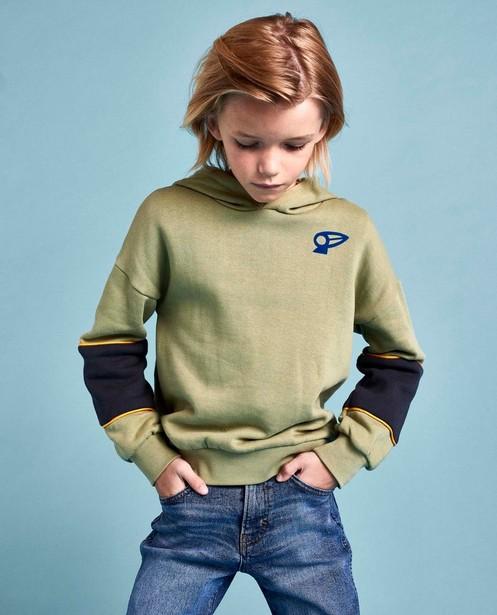 Groene hoodie met color block CKS - en brushed fleece - CKS