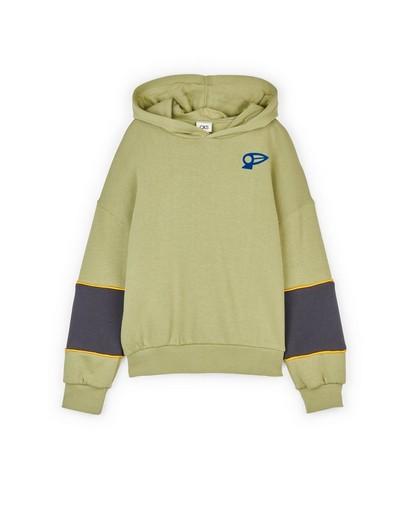 Groene hoodie met color block CKS