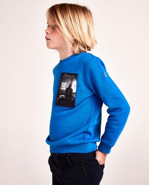 Blauwe sweater met print CKS - op patch - CKS