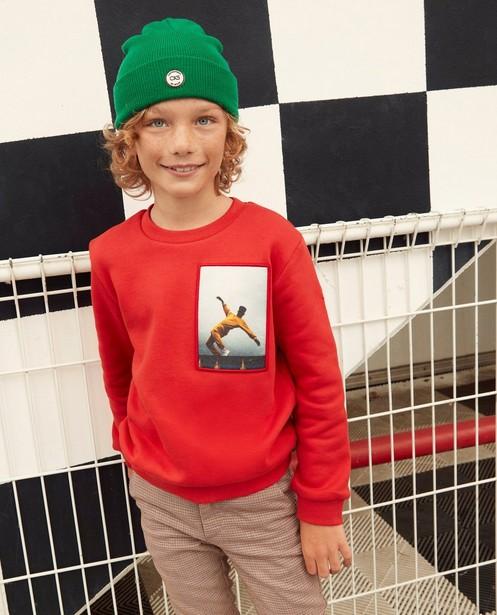Rode sweater met print CKS - op patch - CKS