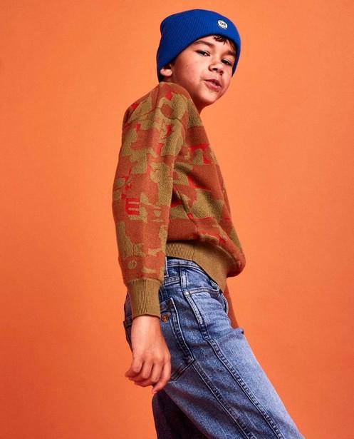 Oranje sweater met print CKS - rib - CKS