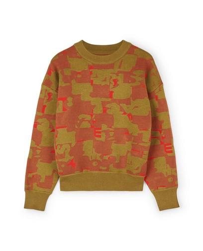 Oranje sweater met print CKS