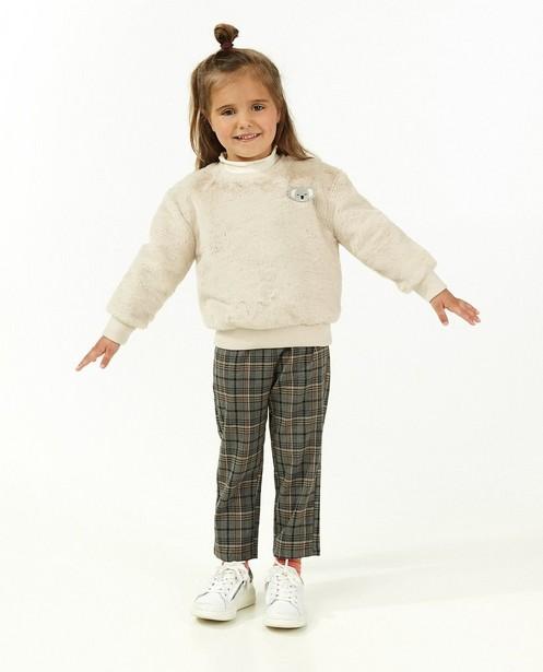 Beige fuzzy sweater met koala - broche - Milla Star