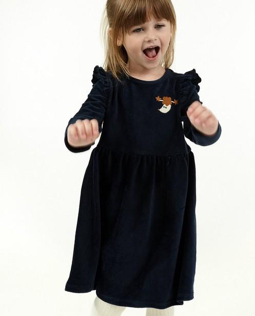 Blauwe jurk met rib BESTies - en volants - Besties