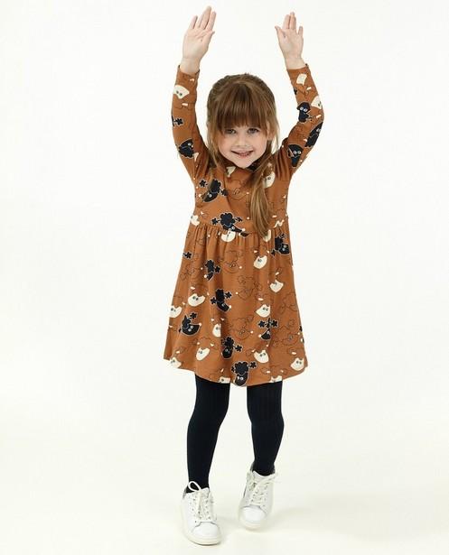 Bruine jurk met poedelprint BESTies - en rib - Besties