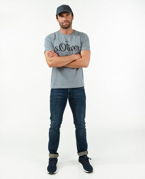 Grijs T-shirt met opschrift s.Oliver - stretch - S. Oliver