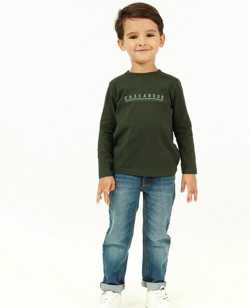 T-shirt vert à manches longues avec inscription FR - avec du stretch - Kidz Nation