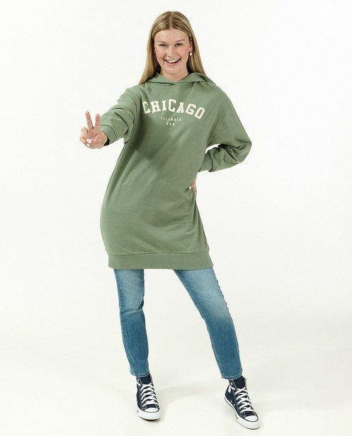 Groene jurk met capuchon - lang - Groggy
