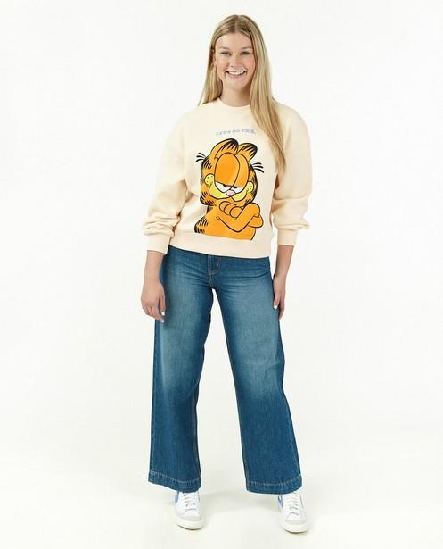 Sweat beige à imprimé Garfield - avec du stretch - Groggy