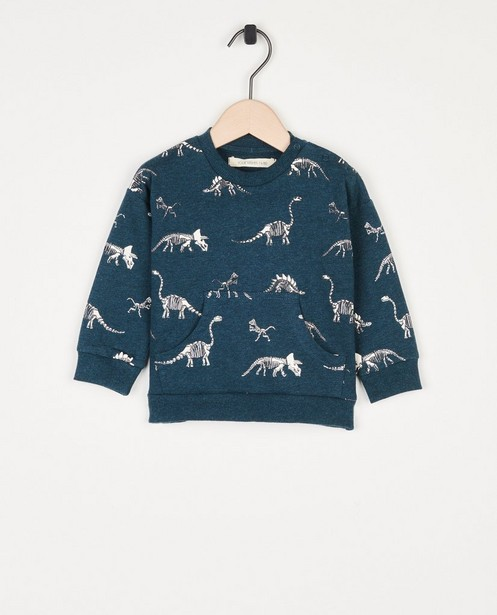 Groene sweater met print Your Wishes - met buidelzakje - Your Wishes