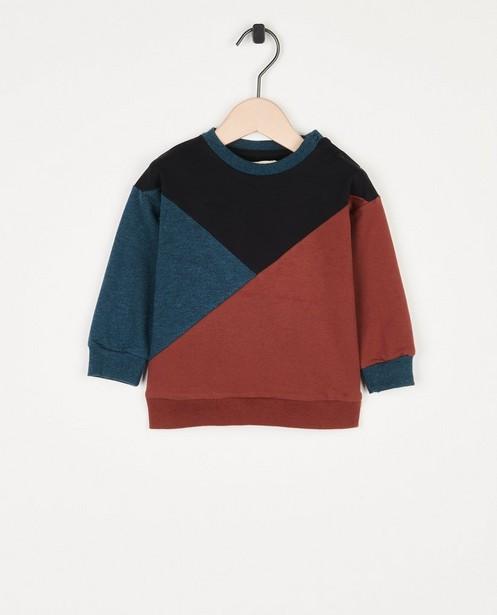 Sweater met color block Your Wishes - blauw en bruin - Your Wishes