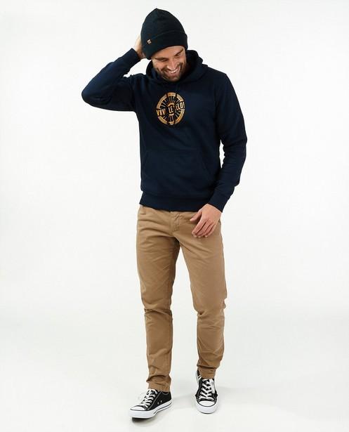 Donkerblauwe hoodie met print Vive le vélo - oranje - Vive le vélo