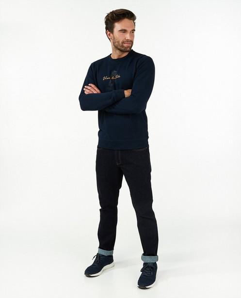 Donkerblauwe sweater met print Vive le vélo - stretch - Vive le vélo