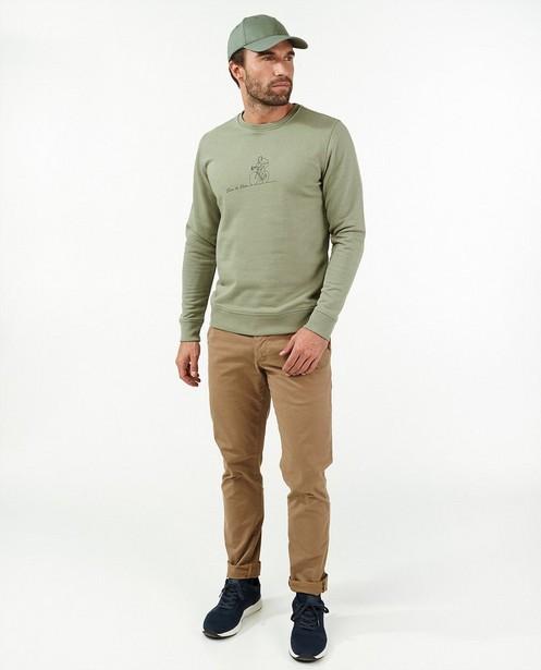 Groene sweater met print Vive le vélo - stretch - Vive le vélo