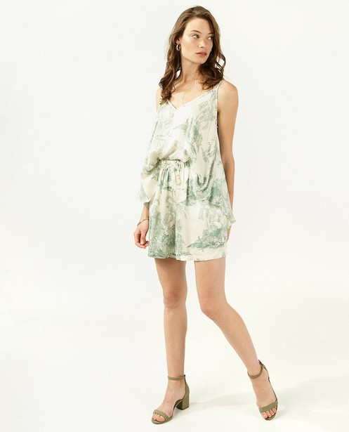 Shorts - Short blanc à imprimé vert