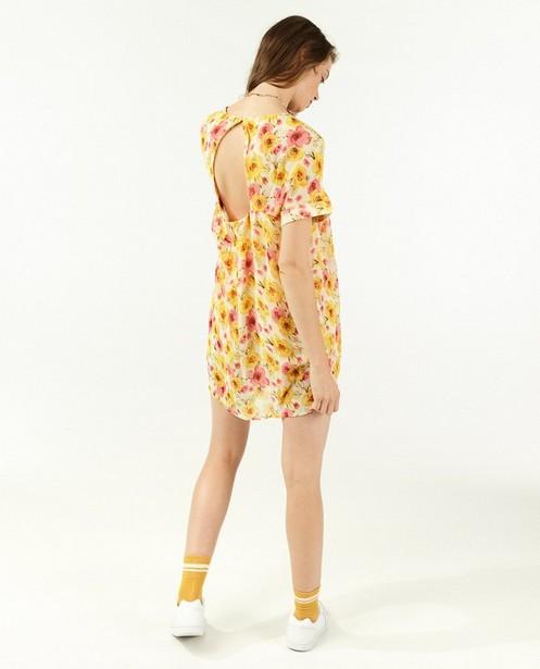 Gele jumpsuit met bloemenprint - allover - Paris