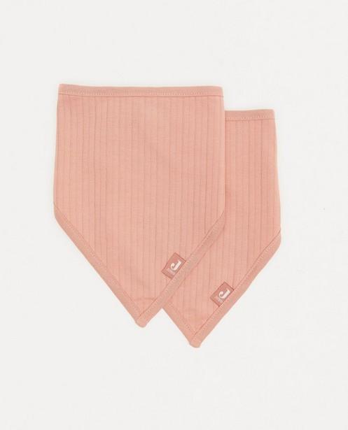 2-pack roze bandana bib Jollein - met rib - Jollein