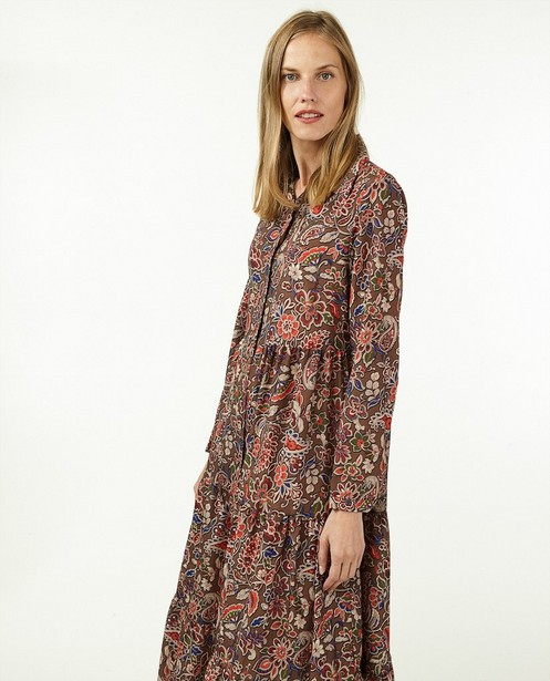 Bruine jurk met print Ella Italia - allover - Ella Italia