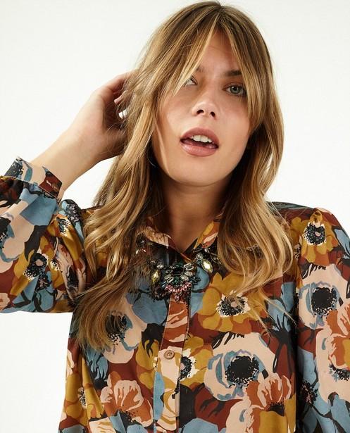 Bruine jurk met bloemenprint Ella Italia - allover - Ella Italia