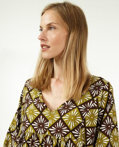 Groene jurk met print Ella Italia - stretch - Ella Italia