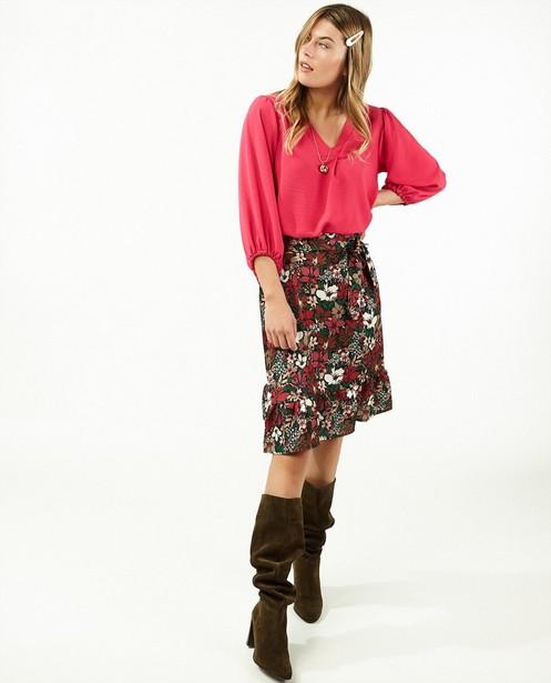 Fuchsia blouse Ella Italia - met V-hals - Ella Italia